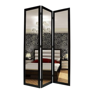 Handmade Black Mirror 3-Panel Wooden Screen (China)
