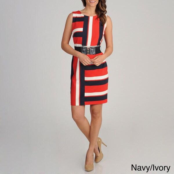 R & M Richards Women's Asymmetrical Stripe Belted Dress