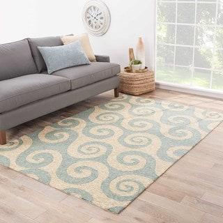 Varuna Indoor/ Outdoor Abstract Cream/ Blue Area Rug (7'6 X 9'6)