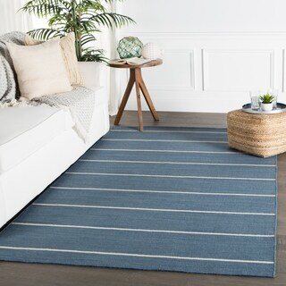 Byron Handmade Stripe Blue/ Cream Area Rug (5' X 8')
