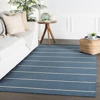 Byron Handmade Stripe Blue/ Cream Area Rug (5' X 8') - 5' x 8'