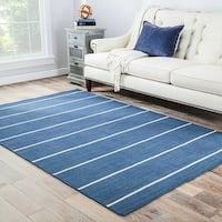 Byron Handmade Stripe Blue/ Cream Area Rug (4' X 6') - 4' x 6'