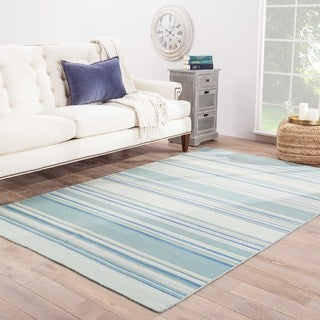 Handmade Flat Weave Stripe Pattern Light Blue Rug (5' x 8')