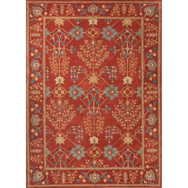 Hand-tufted Transitional arts/ Crafts Red/ Orange Rug (9'6 x 13'6)
