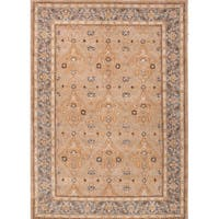 "Raja Handmade Medallion Tan/ Blue Area Rug (9'6"" X 13'6"")"
