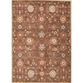 Savani Handmade Floral Brown/ Red Area Rug (9'6 X 13'6)