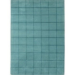 Hand-tufted Contemporary Geometric-pattern Blue Area Rug (5' x 8')