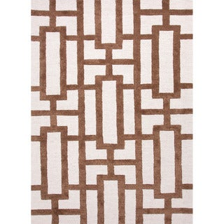 Hand-tufted Contemporary Geometric Pattern Brown Rug (8' x 11')