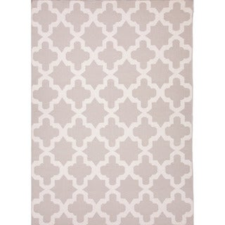 Handmade Flat Weave Geometric Pattern Gray/ White Rug (2' x 3')