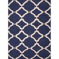 Cavanaugh Handmade Trellis Blue/ Cream Area Rug - 5' X 8'