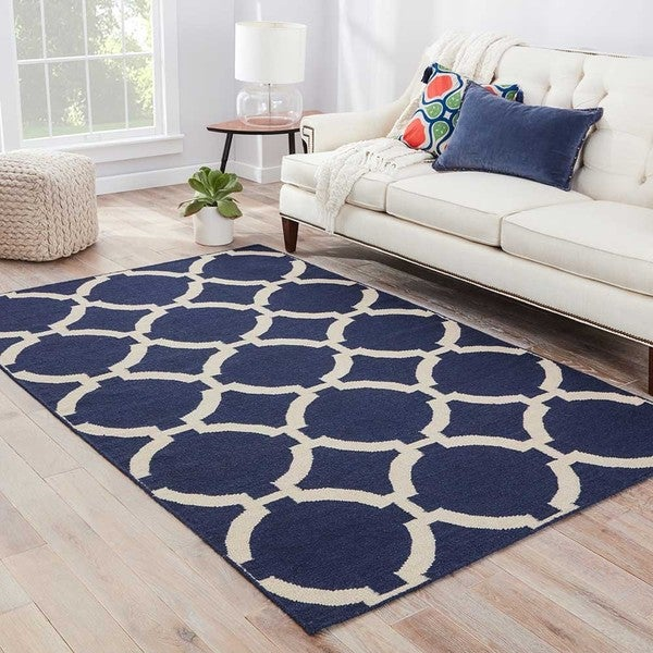 "Cavanaugh Handmade Trellis Blue/ Cream Area Rug (3'6"" X"