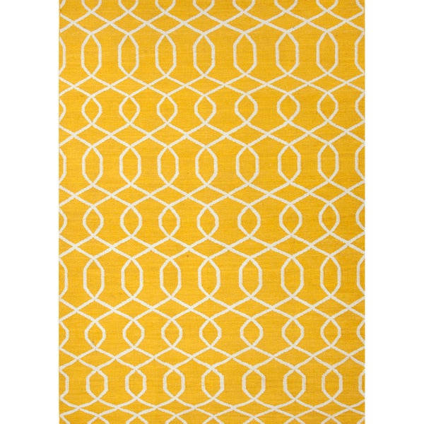 Handmade Flat Weave Geometric Pattern Yellow Rug 5 X 8