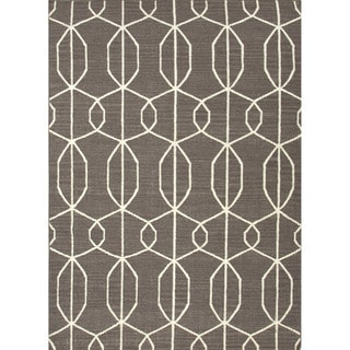 Handmade Flat-weave Geometric Pattern Grey/ Off White Wool Rug (5' x 8')
