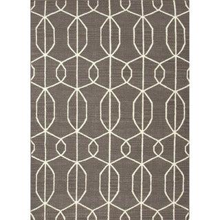 Handmade Flat-weave Geometric-pattern Gray/ White Area Rug (8' x 10')