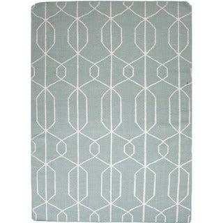 Durable Handmade Flat-weave Geometric-pattern Blue Rug (2' x 3')
