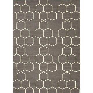 Handmade Flat-weave Geometric Pattern Gray/ Black Area Rug (8' x 10')