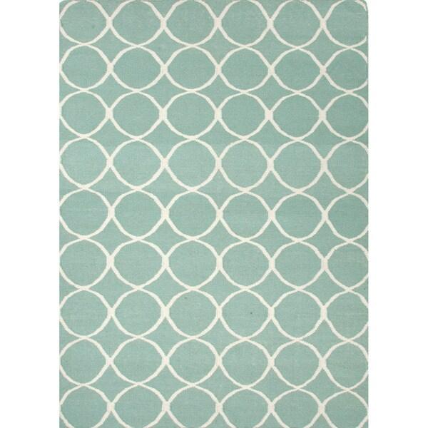 Handmade Flat Weave Geometric Pattern Blue Rug 8 X 10
