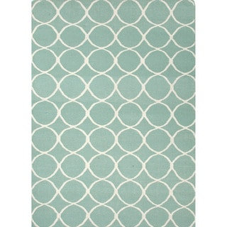 Handmade Flat Weave Geometric Pattern Blue Rug (2' x 3')