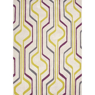 Hand-tufted Contemporary Geometric Pattern Green Rug (2' x 3')