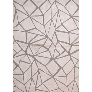 Hand-tufted Contemporary Geometric Pattern Ivory Rug (2' x 3')