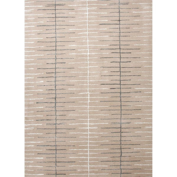 Hand-tufted Contemporary Geometric Pattern Brown/ Ivory Textured Rug (2' x 3')