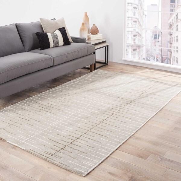 "Loran Handmade Stripe Gray/ White Area Rug (9'6"" X 13'6"") - 9'6"" x 13'6"""