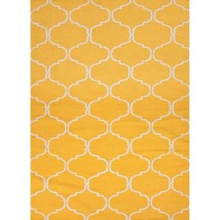 Handmade Flat Weave Geometric Pattern Yellow Wool Rug (2' x 3')