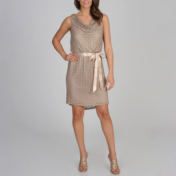 R & M Richards Women's Gold Metallic Lace Blouson Dress