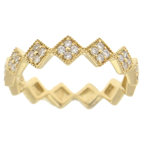 Beverly Hills Charm 14K Gold 1/4ct TDW Stackable Geometric Diamond Band Ring