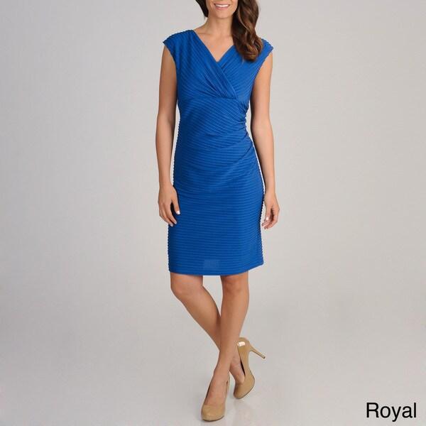 R & M Richards Women's Surplice Pintucked Dress