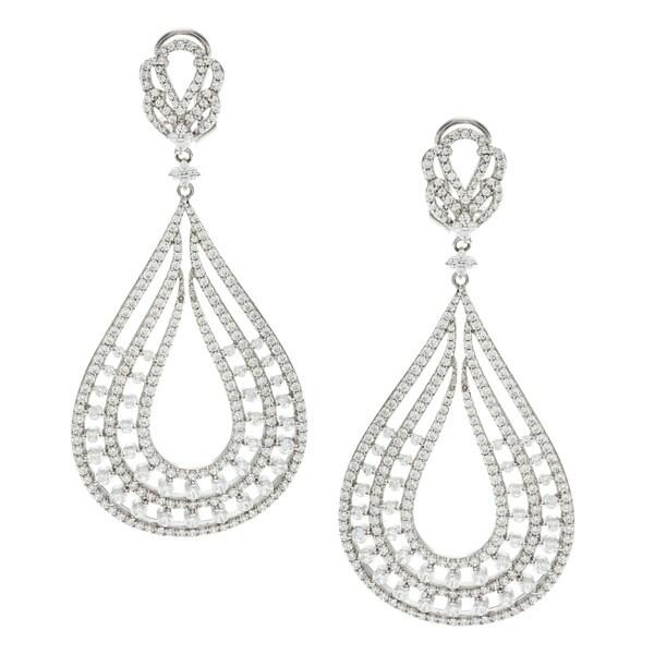 Sterling Silver Cubic Zirconia Chandelier Earrings