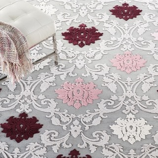 Transitional Floral Pink/ Purple Rug (7'6 x 9'6)