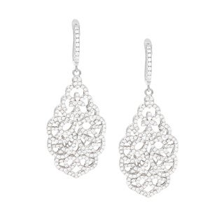 Sterling Silver Cubic Zirconia Ornate Dangle Earrings