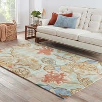 Clemente Handmade Floral Green/ Multicolor Area Rug (5' X 8')