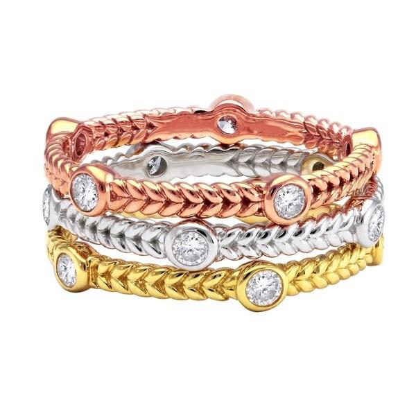 Beverly Hills Charm 14k Gold 1/4ct TDW Bezel Set Stackable Diamond Eternity Band Ring (H-I, SI2-I1)