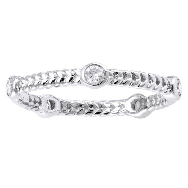 Beverly Hills Charm 14k White Gold 1/4ct TDW Diamond Braided Eternity Band Ring (H-I, SI2-I1)