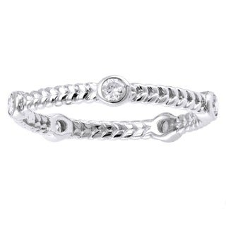 Beverly Hills Charm 14k White Gold 1/4ct TDW Diamond Braided Eternity Band Ring