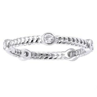 14k White Gold 1/4ct TDW Diamond Braided Eternity Band Ring