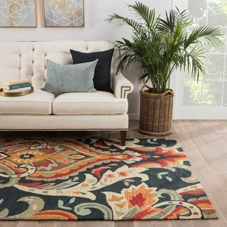 Hand-tufted Transitional Floral Pattern Blue Rug (7'6 x 9'6)