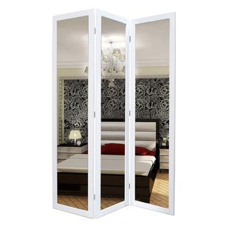 Handmade Mirror 3-Panel Wooden Screen (China)|https://ak1.ostkcdn.com/images/products/8177652/P15515412.jpg?impolicy=medium