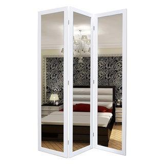 Handmade Mirror 3-Panel Wooden Screen (China)