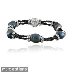 Glitzy Rocks Silvertone FW Pearl and Crystal Stretch Bracelet (11-12 mm) (Option: Red)|https://ak1.ostkcdn.com/images/products/8177655/Glitzy-Rocks-Silvertone-FW-Pearl-and-Crystal-Stretch-Bracelet-11-12-mm-P15515351.jpg?impolicy=medium