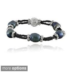 Glitzy Rocks Silvertone FW Pearl and Crystal Stretch Bracelet (11-12 mm)