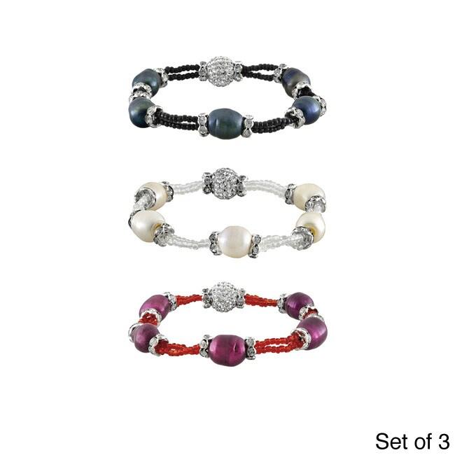 Glitzy Silvertone FW Pearl and Crystal Stretch Bracelet (...