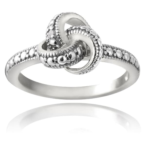DB Designs Sterling Silver Diamond Accent Love Knot Ring. Opens flyout.