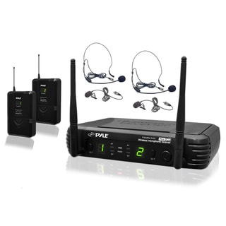 Pyle PDWM3400 Microphone System with 2 Body-Pack Transmitters, Headset, Lavalier Microphones with Selectable Frequencies