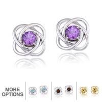 Glitzy Rocks Silver Gemstone Love Knot Stud Earrings
