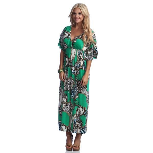 Meetu Magic Women's Mixed Print ITY Maxi Dress