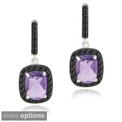 Glitzy Rocks Sterling Silver Gemstone and Black Spinel Earrings