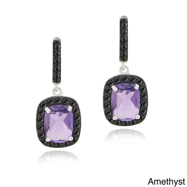 Glitzy Rocks Sterling Silver Gemstone and Black Spinel Earrings